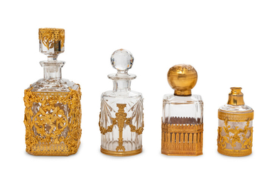 Four French Gilt Bronze Mounted Glass Bottles
