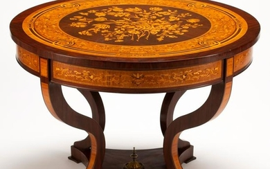 French Louis XV Style Marquetry Inlaid Center Table.