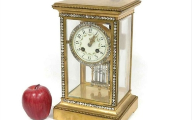 French Marti Gilt Bronze Crystal Regulator Shelf Clock