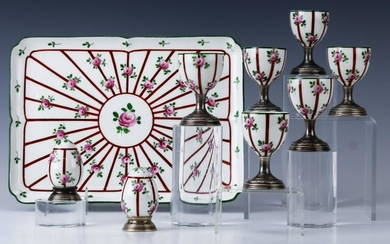 French Sterling Silver Mounted Limoges Porcelain