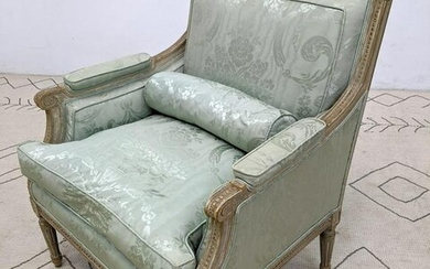 French Style Bergere Chair with Carved Frame.