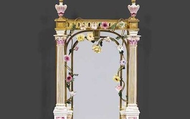 GILT BRONZE MIRROR IN THE LOUIS XVI STYLE WITH PORCELAIN INSERTS