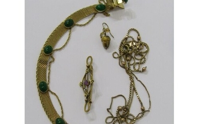 GOLD ITEMS, including 2 HM necklaces both a/f and gold brooc...