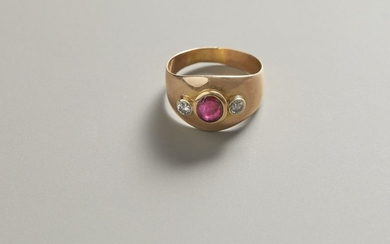 Gold ring with oval ruby and diamonds