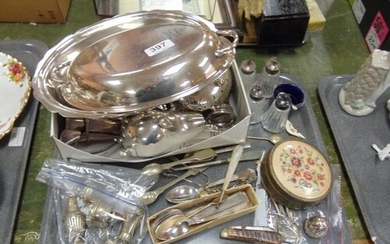 Good tray of plated ware to include Sauce boat , Cruets , cu...