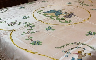 Important Liberty hand-painted bedspread - Silk - Mid 20th century