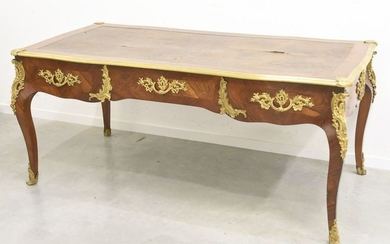 Important Louis XV flat desk in marquetry enhanced...