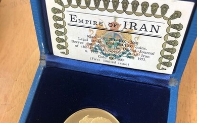 Iran - 2000 Rial 1971 - 2500 Years Empire with box&COA - Gold