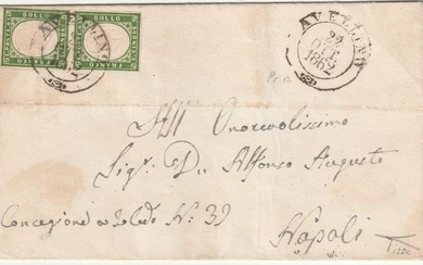 Italian Ancient States - Naples 1862 - Neapolitan provinces 5 c. pair olive green with good margins on letter from Avellino Pt.12 to Naples - Sassone N.13Dc