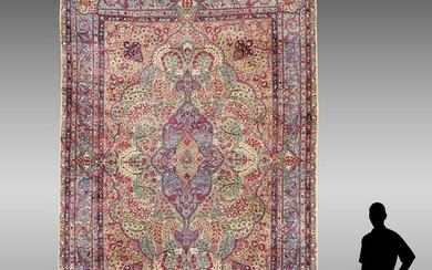 ANTIQUE KERMAN-SHAH HAND KNOTTED WOOL RUG, 10