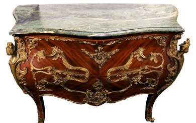 LOUIS XV STYLE FIGURAL MARBLE TOP COMMODE