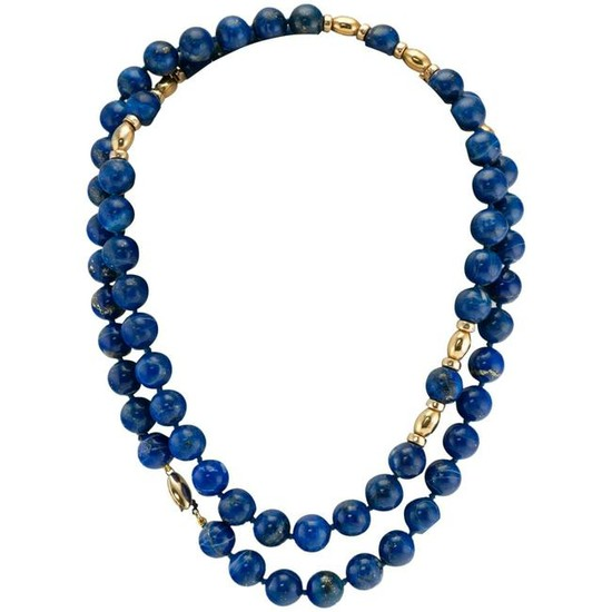 Lapis Lazuli Bead Necklace 10mm 14K Yellow Gold 32.5""