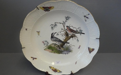 Large scalloped Meissen charger, decorated with birds, insec...