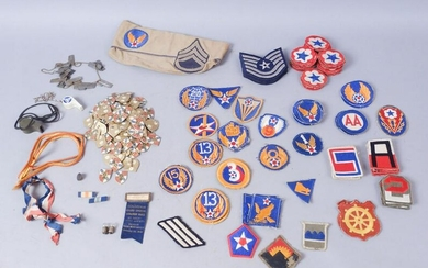 Lot of Assorted Military Patches, Pins, Misc.