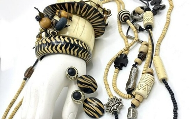 Lot of Vintage 1980s Costume Tribal Style Jewelry