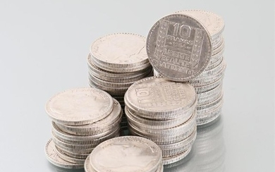 Lot of sixty-nine silver coins 10 Francs 1934,...