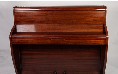 MODERN MAHOGANY CASED CHALLEN UPRIGHT PIANO, iron framed and...