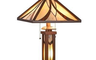 Mission-style Stained Glass Wooden Table Lamp