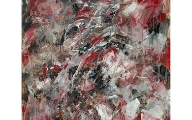 Monumental Abstract Oil Painting on Canvas by Dehais,