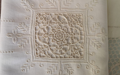 Museale pure linen sheet with handmade needlepoint embroidery - 265 x 280 cm - Linen - 21st century