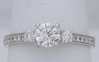 NEW RAYALTY 750 18k WHITE GOLD .81ct ROUND DIAMOND 3
