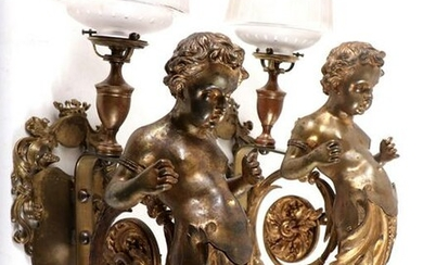 PAIR 19TH C FRENCH GILT BRONZE PUTTI WALL SCONCES