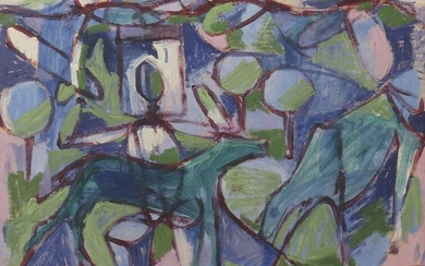 Painter of the 20th century probably France. ''Untitled'', abstract landscape with figures and animals, lower right pencil signed or bet. (covered by the frame), oil/cardboard, hxw: 32/44 cm. Cardboard at right margin horizontal tear approx. 9 cm long...
