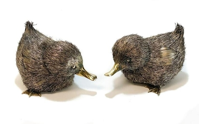 Pair 800 Silver Furry Duckling Figures by Lisi