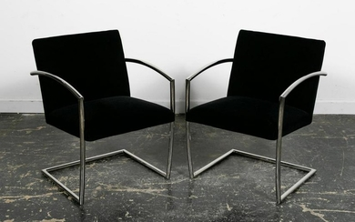 "Pair, Brueton Chrome Upholstered ""Romero"" Chairs"