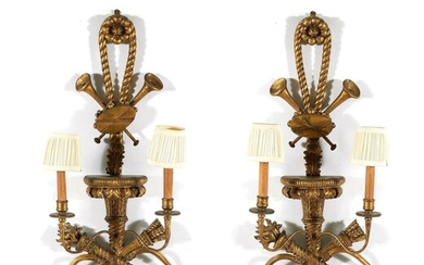 Pair French carved giltwood wall sconces (2pcs)
