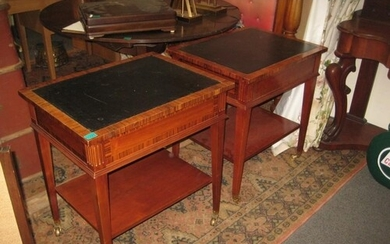 Pair of Leather Top Occasional Tables with veneered crossban...