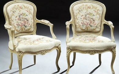 Pair of Polychromed Beech Louis XV Style Fauteuils