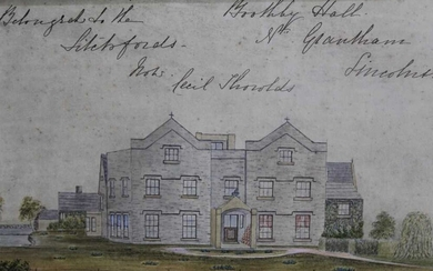 Pair of mid 19th century naive watercolours depicting Brothby Hall, Lincolnshire