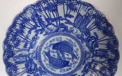 Plate - Arita, Blue and white - Porcelain - Transfer print export plate - Japan - Early 20th century