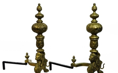 Pr Large Griffin Fireplace Andirons