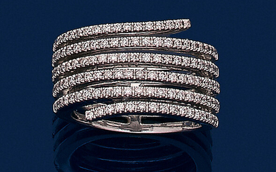 "RING ""six lines"" in white gold (750‰) openwork, paved with brilliant-cut diamonds."