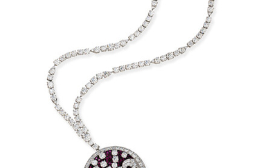 RUBY AND DIAMOND 'WAVE' PENDENT NECKLACE, GRAFF
