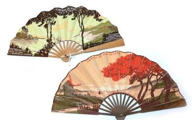 Railway Advertising: Two Printed Paper Fans, the double leaves mounted...