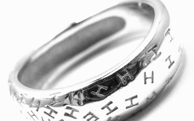 Rare! Authentic Hermes 18k White Gold H Motif Band Ring