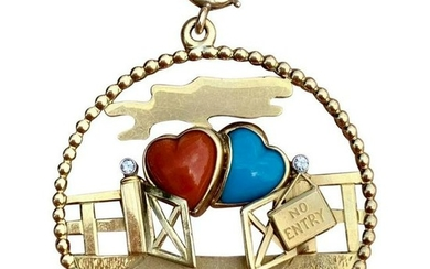Rare Cartier 18K YG Two Hearts Diamond Coral Turquoise