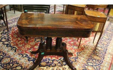 Regency Rosewood Inlaid and Crossbanded Card Table on Twin C...