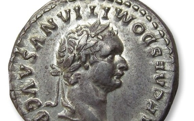 Roman Empire Domitian (AD 81-96). Silver Denarius - Fantastic coin with luster in fields, Rome 81 A.D. - TR P COS VII DES VIII P P Thunderbolt on draped throne