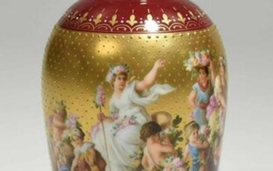 Royal Vienna Hand Painted Porcelain Vase