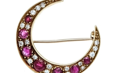 Ruby diamond brooch GG 750/000 with 7 round fac. Rubies