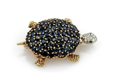 Sapphire and Diamond Turtle Brooch in 18K Yellow Gold