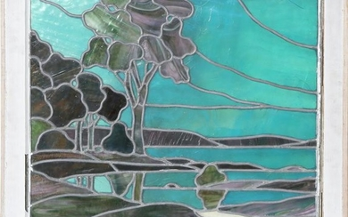 Seascape with Trees, Stained Glass Window in Wooden