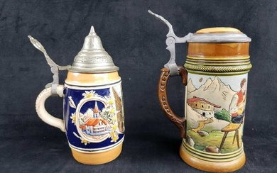 Set of 2 Lidded Beer Steins B