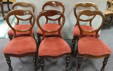 Set of 6x Victorian Newly Upholstered Dining Room Chairs