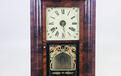 Seth Thomas Eight-day Ogee Clock, Thomaston, Connecticut, mahogany veneer case, glazed door with reverse-painted lower glass, painted i