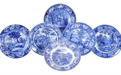Six blue and white printed pearlware soup plates